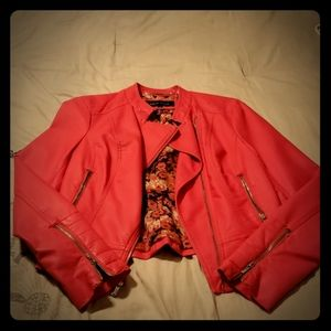 Leather Jacket in Watermelon Pink Size M
